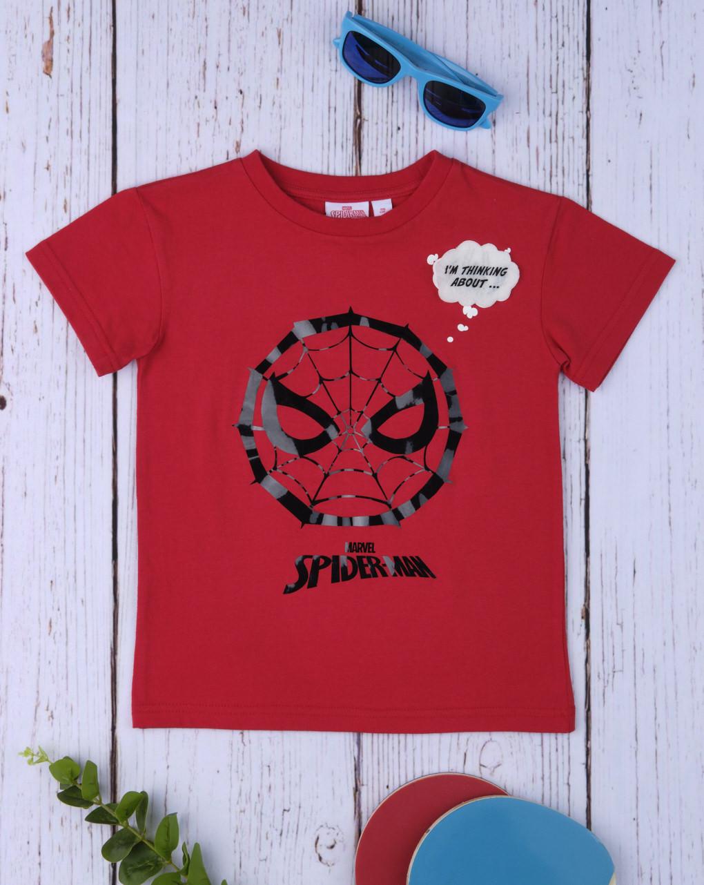 T-Shirt Κόκκινο με Στάμπα Spiderman για Αγόρι