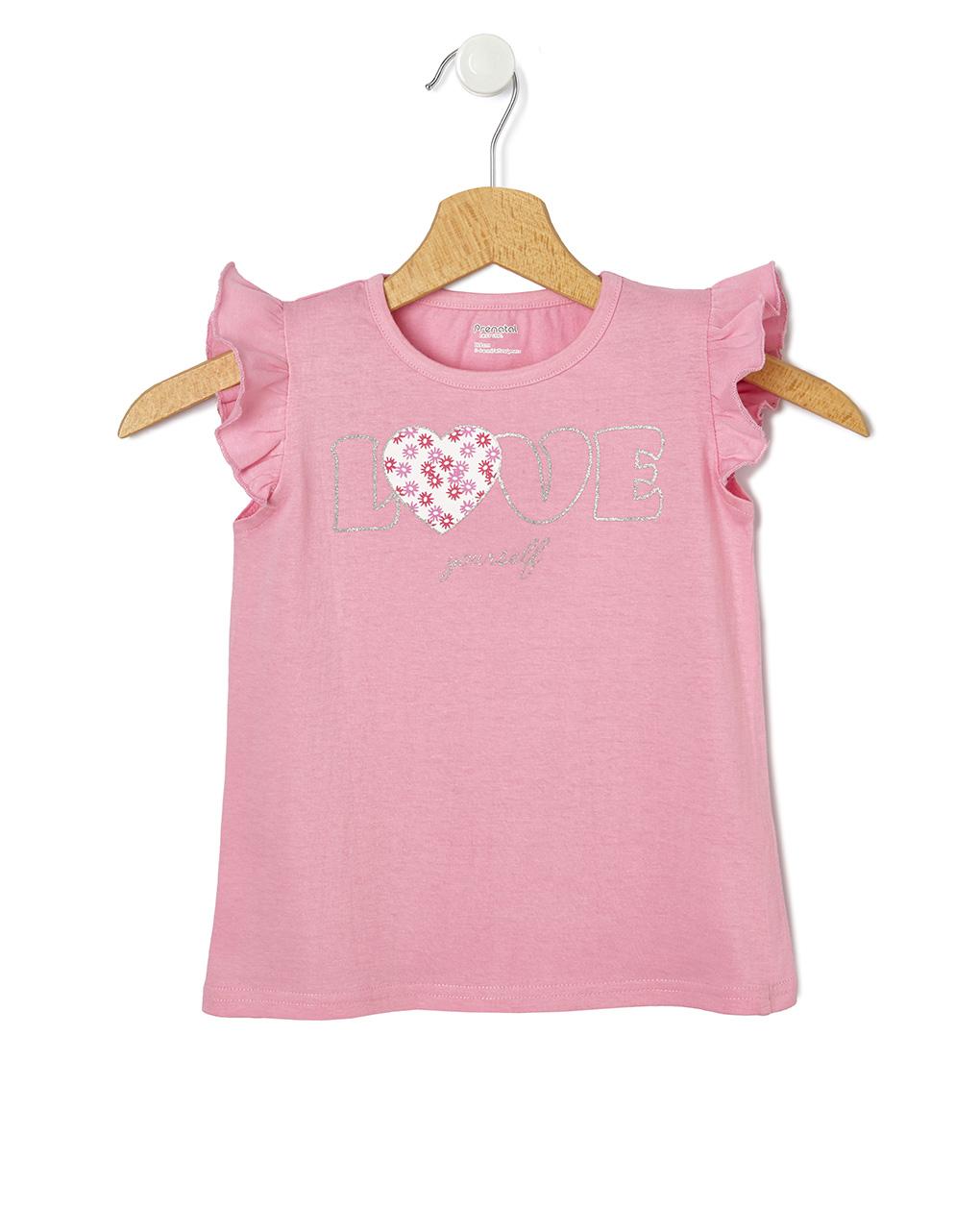 T-Shirt Jersey Ροζ με Στάμπα Love για Κορίτσι