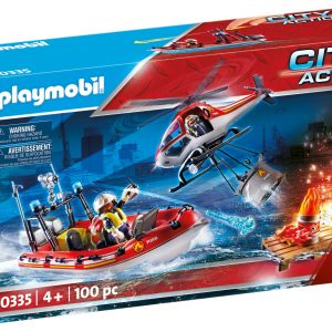 Playmobil Λαμπάδα Πυροσβεστικό σκάφος και ελικόπτερο 70335