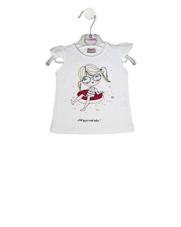 T-Shirt Λευκό με Στάμπα Κοριτσάκι για Κορίτσι