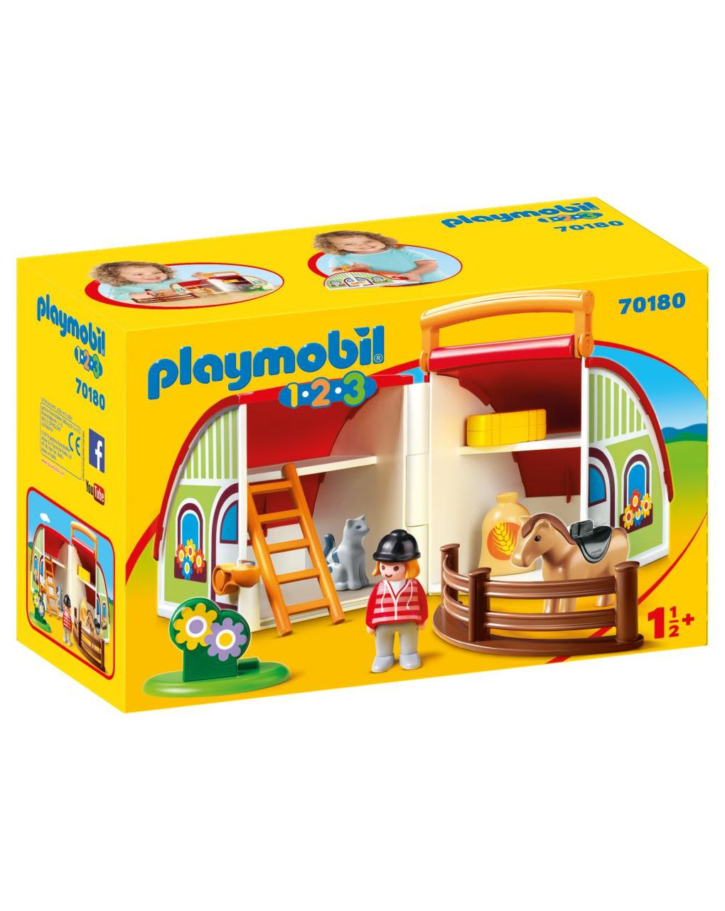 Playmobil 1.2.3 Αχυρώνας-Βαλιτσάκι 70180