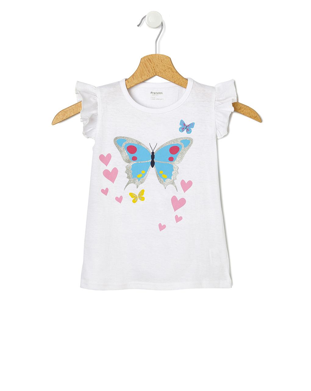 T-Shirt Jersey Λευκό με Στάμπα Πεταλούδα για Κορίτσι