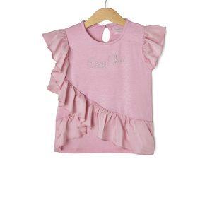 T-shirt Easy Chic με Βολάν Ροζ για Κορίτσι