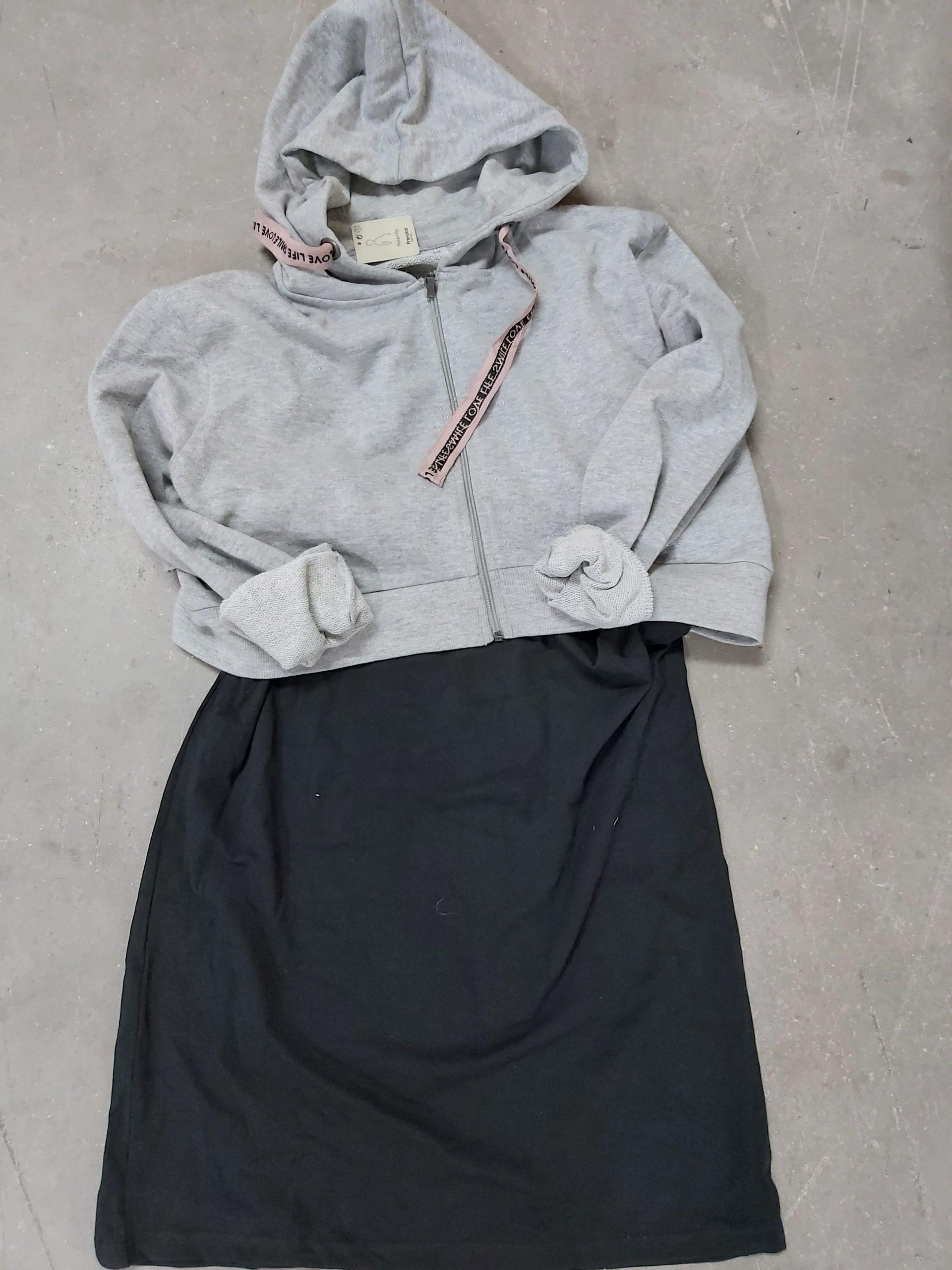 Γυναικείο Φόρεμα & Ζακέτα Γκρι-Μαύρο