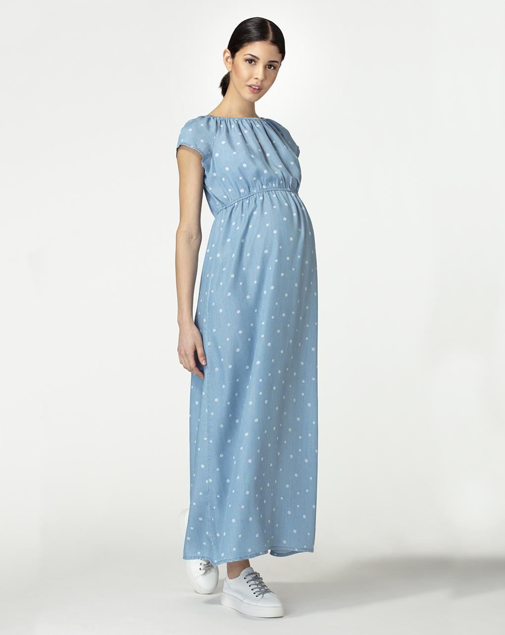 Γυναικείο Φόρεμα Μακρύ Μπλε με Λουλουδάκια