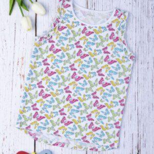 Μπλούζα Αμάνικη Jersey με Πεταλούδες Μεγ.8-9/9-10 Ετών για Κορίτσι