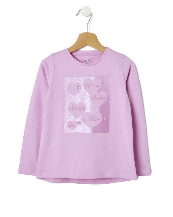 T-shirt Ροζ με Στρας για Κορίτσι