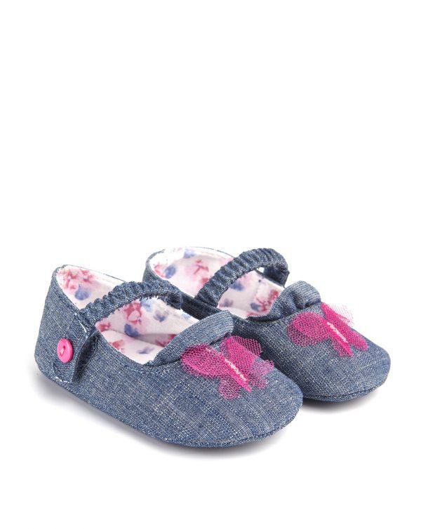 Βρεφικά Παπούτσια Αγκαλιάς Μπαλαρίνες με Πεταλούδα για Κορίτσι