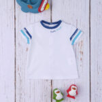 Σετ Σαλοπέτα Κοντή Denim και T-shirt με Ζώα της Θάλασσας για Αγόρι