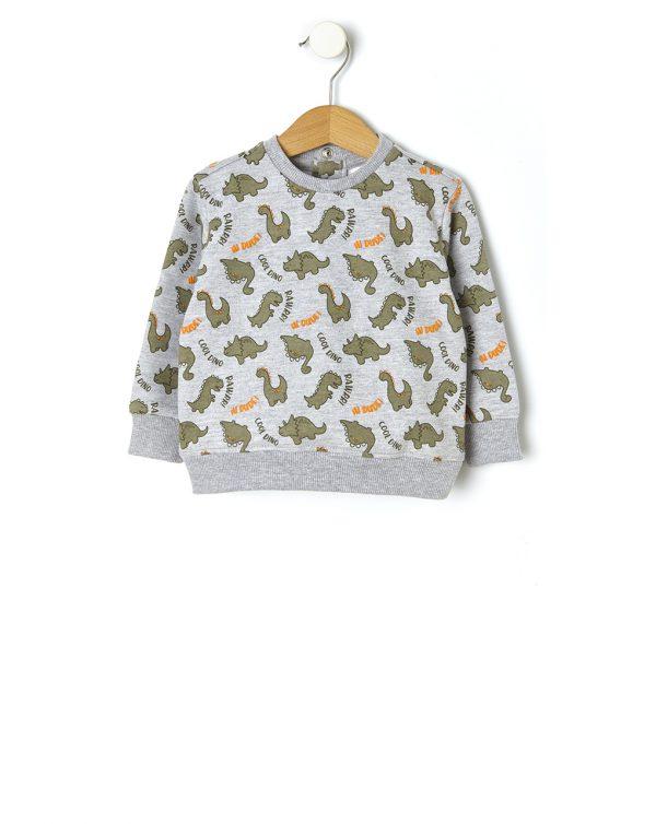 Μπλούζα Φούτερ με Δεινόσαυρους για Αγόρι