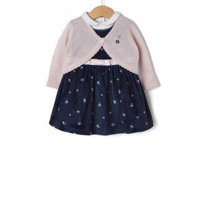 Σετ 3 τεμαχίων με Αμάνικο Φόρεμα, Body και Πλεκτό Ζακετάκι για Κορίτσι