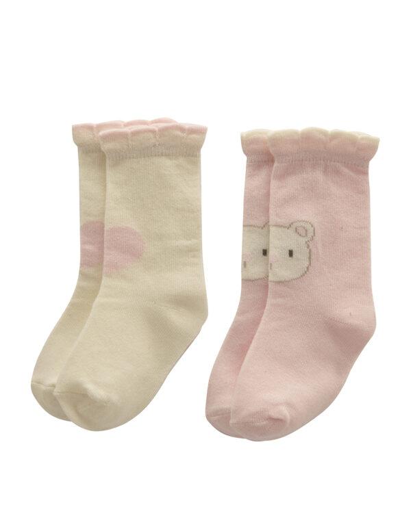 Κάλτσες Πακέτο Χ2 με Αρκουδάκι και Καρδούλα για Κορίτσι