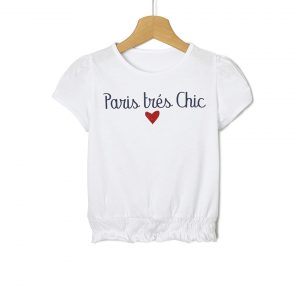 T-Shirt Jersey Λευκό με Στάμπα και Σούρα για Κορίτσι