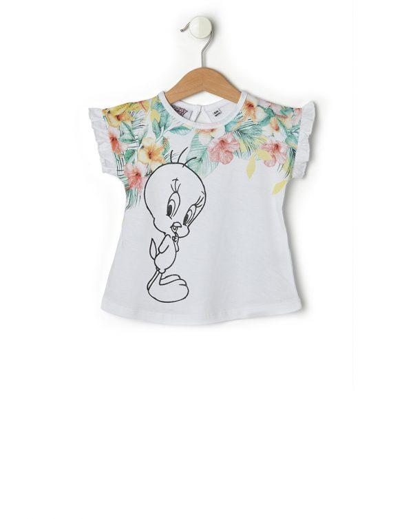 T-Shirt Λευκό με Στάμπα Tweety και Λουλούδια για Κορίτσι