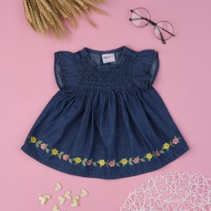 T-Shirt Chambray Σκούρο Μπλε με Λουλουδάκια για Κορίτσι