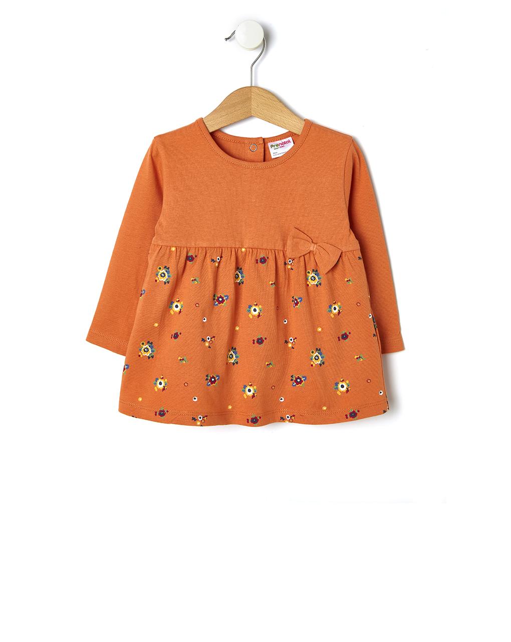 Μπλούζα Μακρυμάνικη Βαμβακερή με Λουλούδια για Κορίτσι