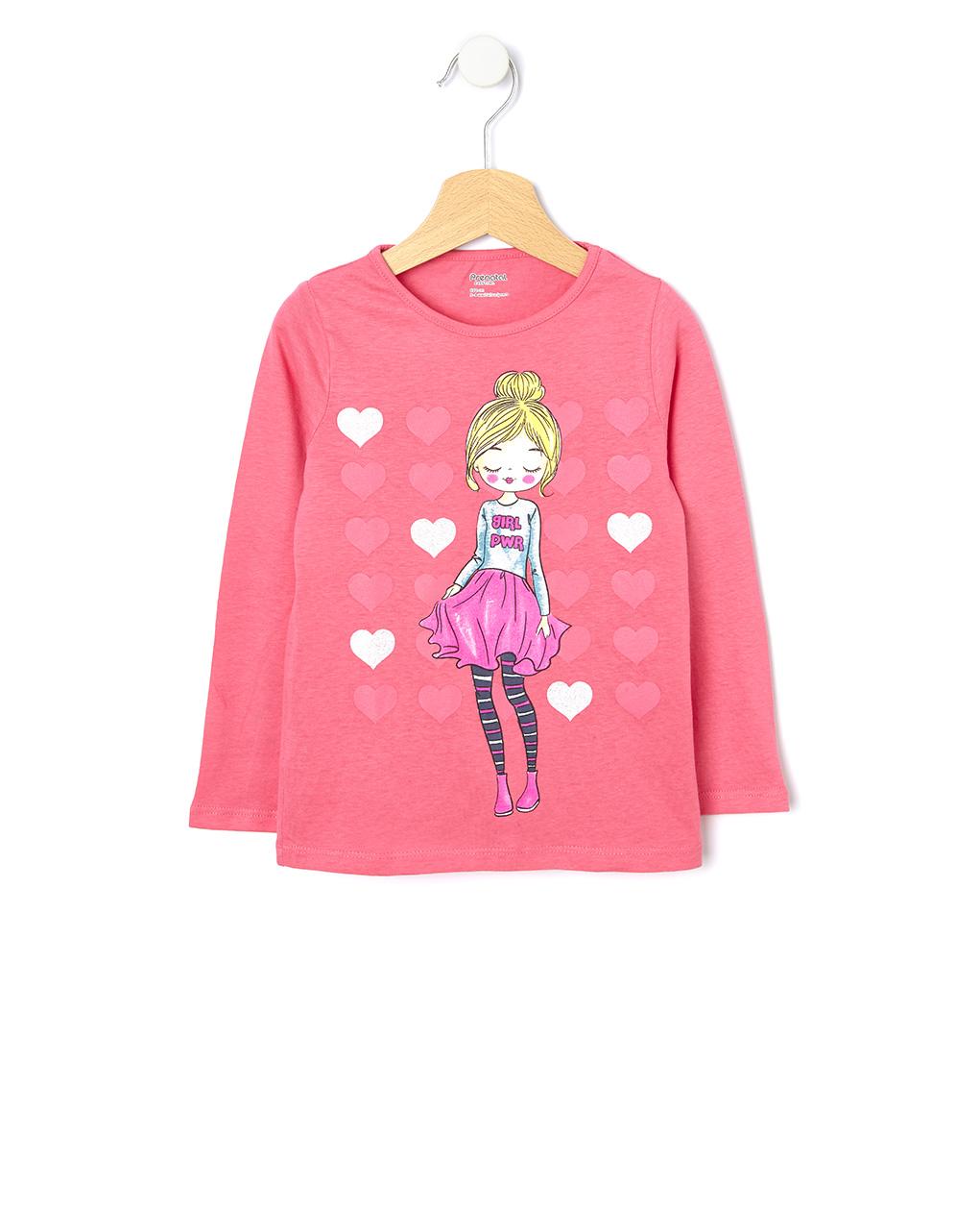 Μπλούζα Φούξια με Στάμπα για Κορίτσι