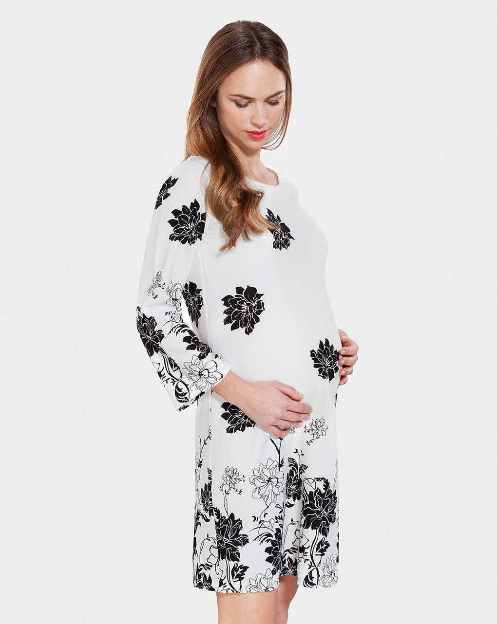 Γυναικείο Φόρεμα Εκρού με Λουλούδια