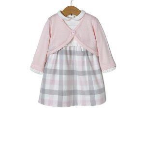 Σετ 3 τεμαχίων από Αμάνικο Φόρεμα, Body και Πλεκτή Ζακέτα για Κορίτσι