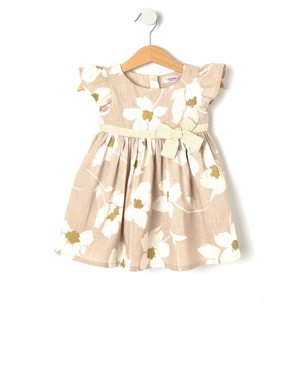 Φόρεμα Λινό Μπεζ με Λουλούδια για Κορίτσι