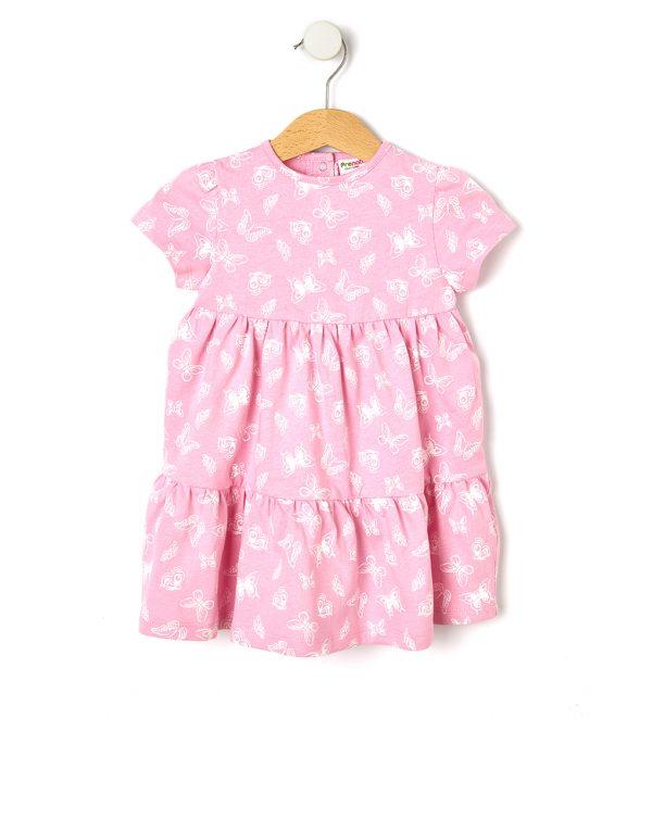 Φόρεμα Jersey Basic Ροζ με Στάμπα για Κορίτσι