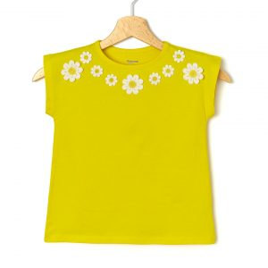 T-Shirt Jersey Κίτρινο με Μαργαρίτες για Κορίτσι