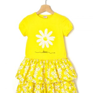 Φόρεμα Jersey Popeline Κίτρινο με Στάμπα για Κορίτσι