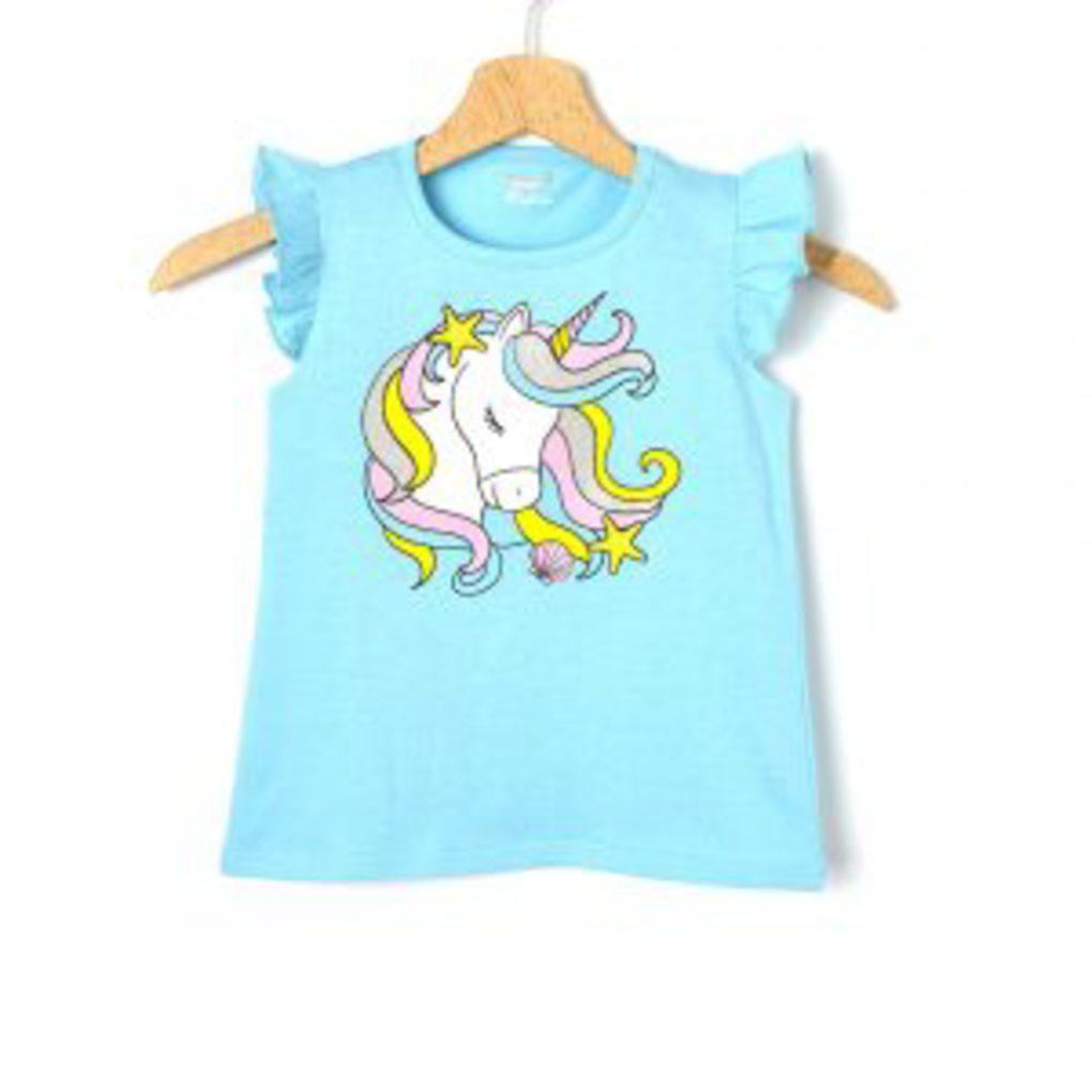 T-Shirt Jersey Γαλάζιο με Στάμπα Μεγ.8-9/9-10 Ετών για Κορίτσι