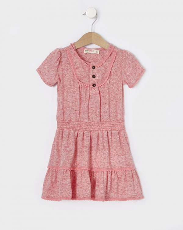 Φόρεμα Κοραλί με Ένθετα Macrame για Κορίτσι