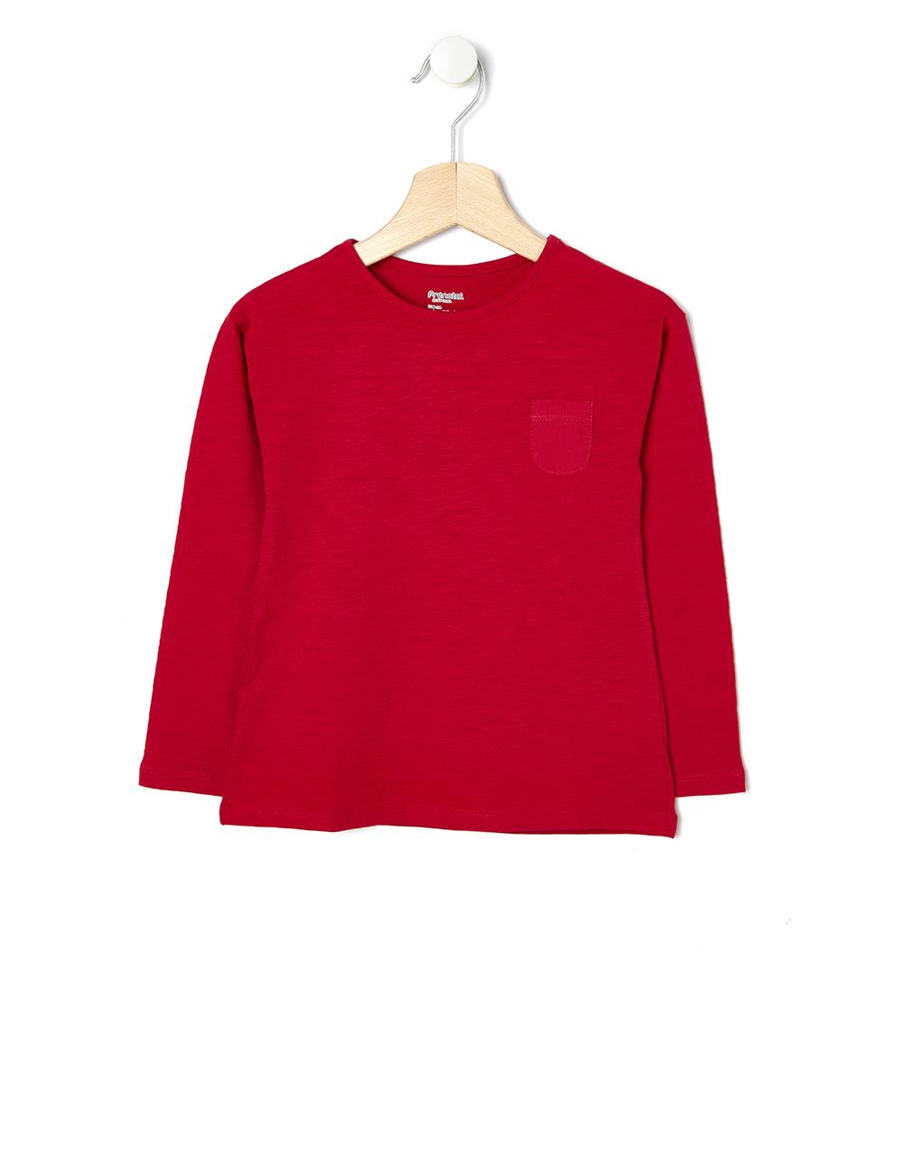 Μπλούζα Κόκκινη με Τσέπη για Κορίτσι
