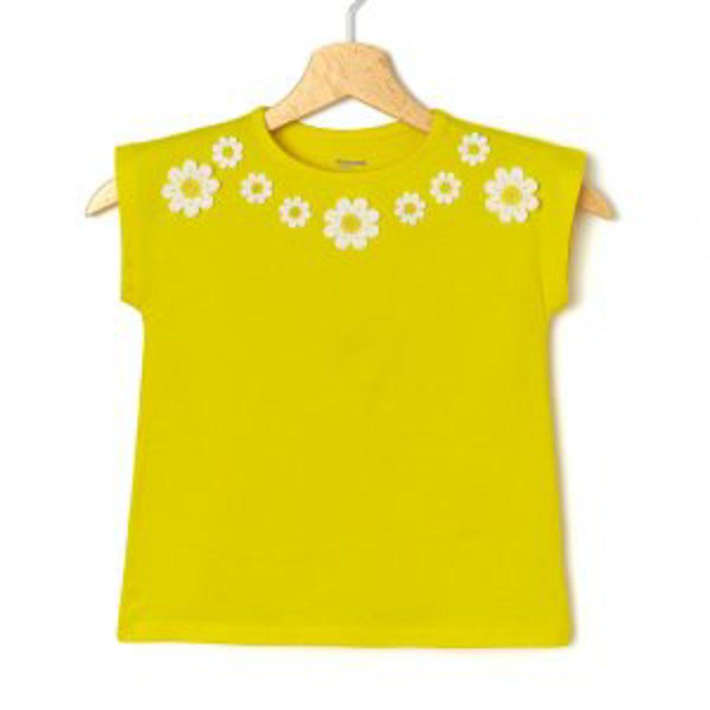 T-Shirt Jersey Κίτρινο με Μαργαρίτες Μεγ.8-9/9-10 Ετών για Κορίτσι