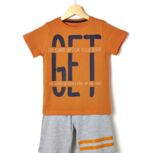Σετ T-shirt και Βερμούδα Πορτοκαλί για Αγόρι
