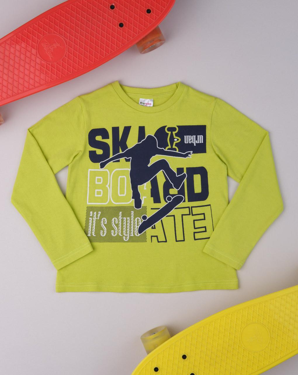 Μπλούζα Μακρυμάνικη Πράσινη με Στάμπα για Αγόρι