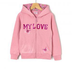 Ζακέτα Fleece Ροζ με Παγιέτες και Λουλούδια Μεγ.8-9/9-10 Ετών για Κορίτσι