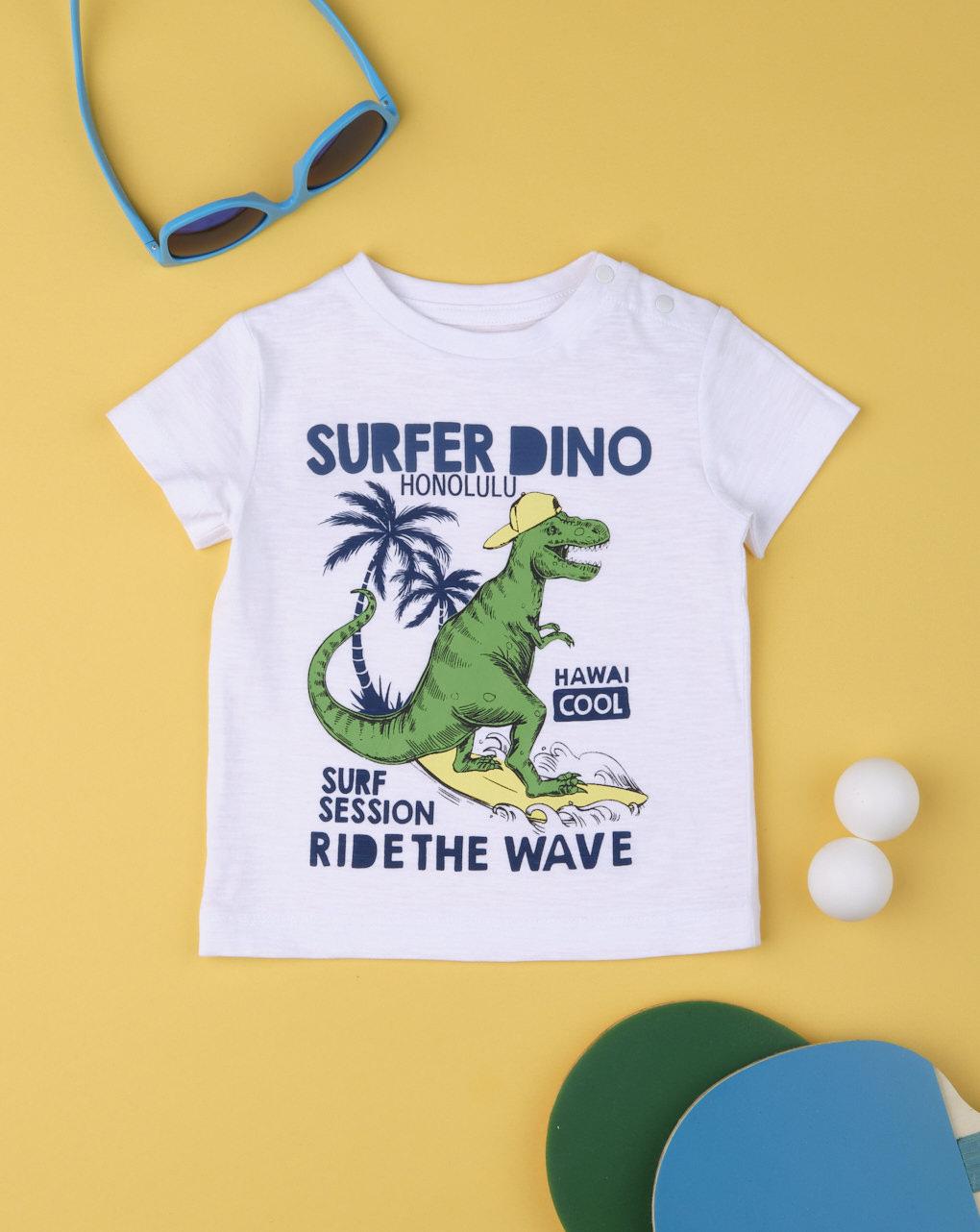 T-shirt Λευκό με Δεινόσαυρο για Αγόρι