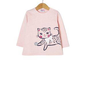 T-shirt jersey με Στάμπα Λευκό για Κορίτσι