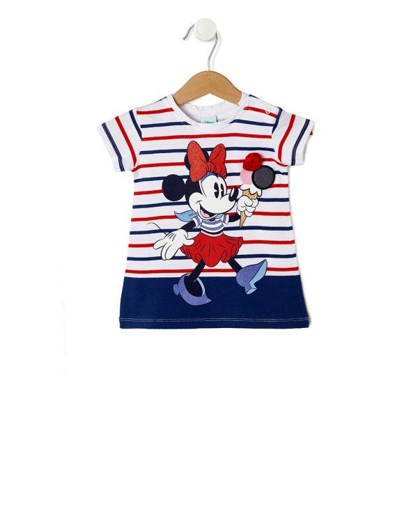 T-Shirt Λευκό Ριγέ με Στάμπα Minnie για Κορίτσι