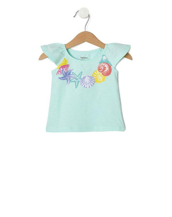 Αμάνικο Μπλουζάκι με Στάμπα Κολιέ Κοχυλιών για Κορίτσι