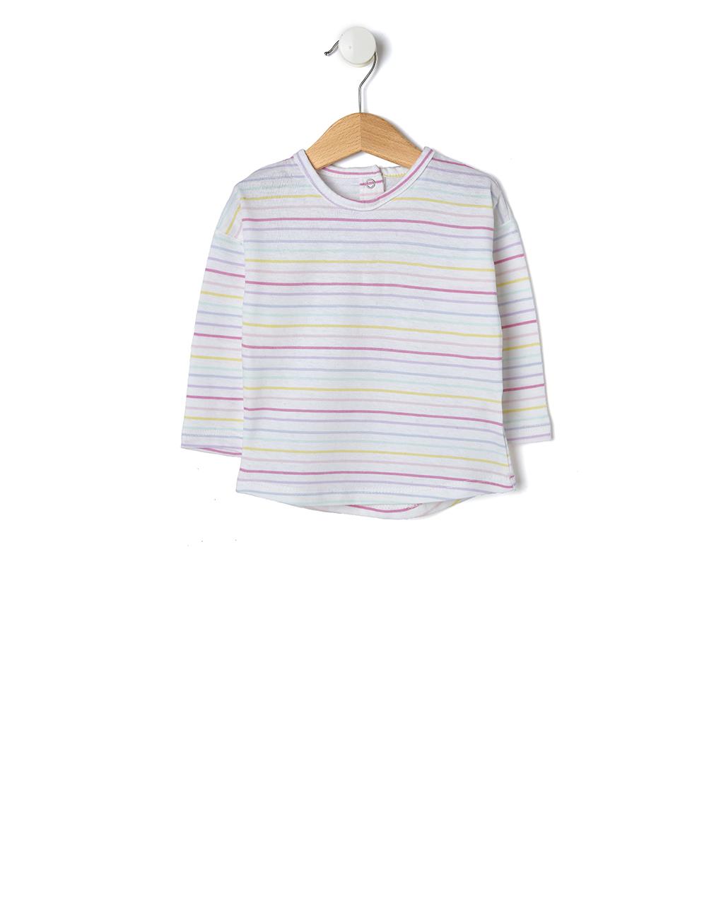 T-shirt Basic Ριγέ Πολύχρωμο για Κορίτσι