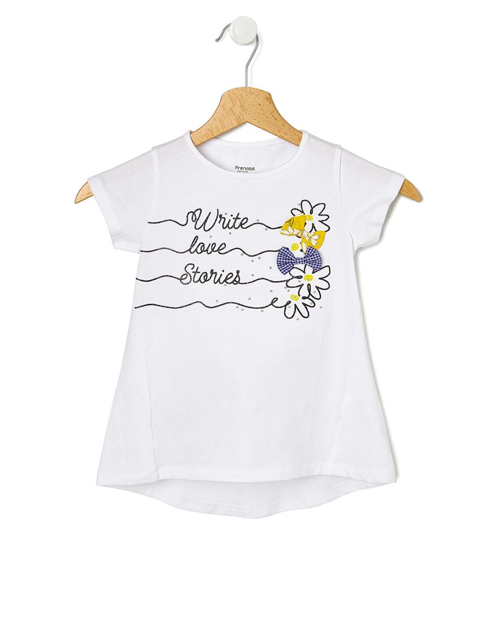 T-Shirt Jersey Λευκό με Στάμπα και Φιογκάκια για Κορίτσι
