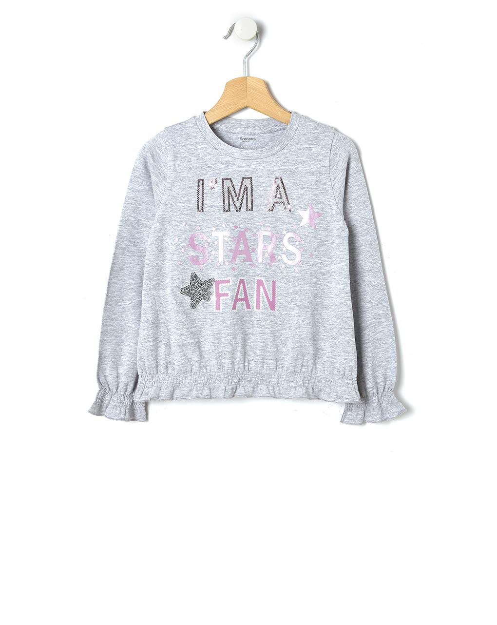 T-shirt Γκρι με Στάμπα για Κορίτσι
