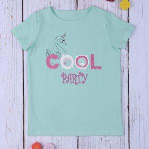 T-Shirt Jersey Πράσινο με Στάμπα για Κορίτσι
