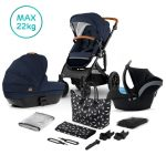 Kinderkraft Σύστημα Μετακίνησης Trio Prime Navy με Τσάντα για τη Μαμά
