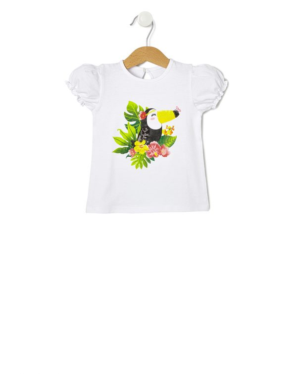 T-Shirt Jersey Λευκό με Στάμπα Toucan για Κορίτσι