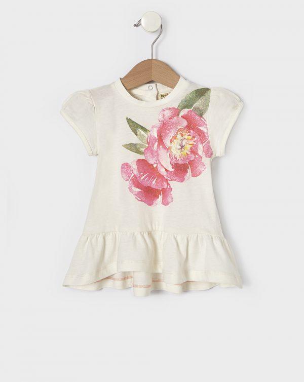 T-Shirt Κρεμ με Στάμπα Τριαντάφυλλο για Κορίτσι