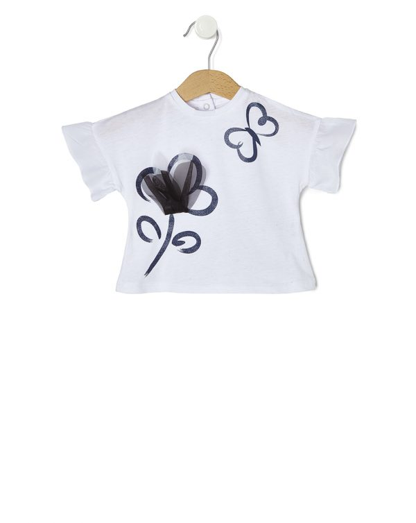 T-Shirt Λευκό Elegant με Λουλούδι για Κορίτσι