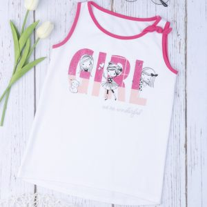 T-Shirt Αμάνικο Λευκό με Στάμπα και Φιόγκο για Κορίτσι