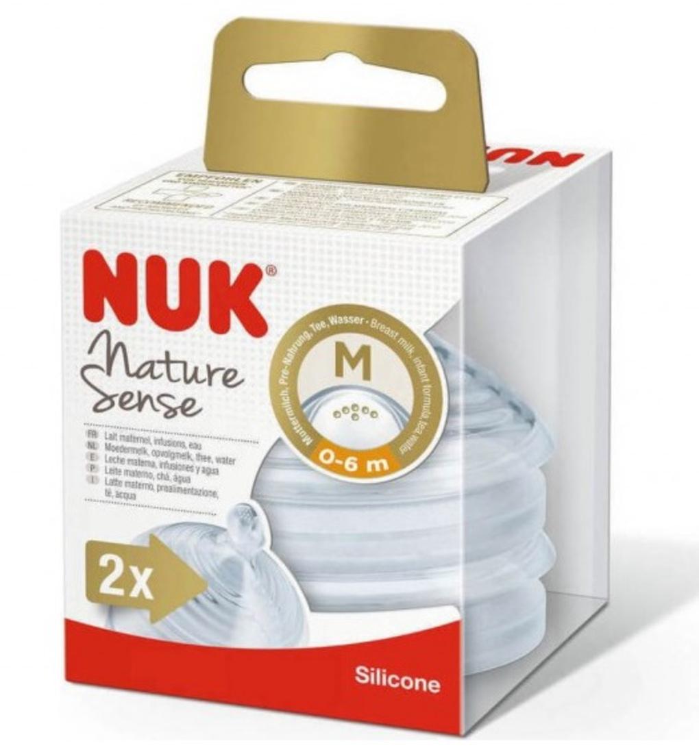 Nuk Nature Sense Θηλή Σιλικόνης Medium 0-6m 2τμχ