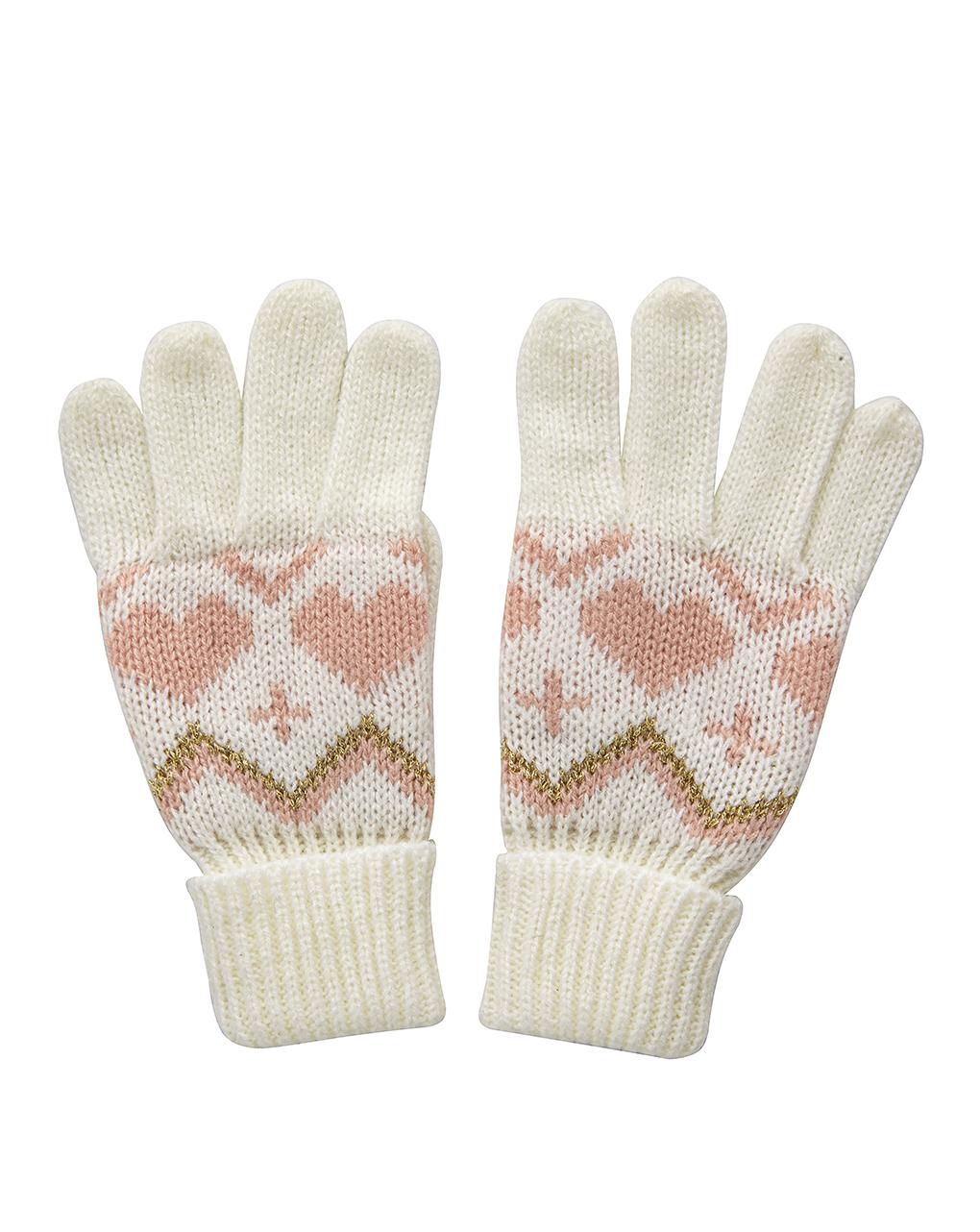 Γάντια Λευκά Jacquard για Κορίτσι