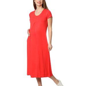 Γυναικείο Φόρεμα Θηλασμού Κόκκινο